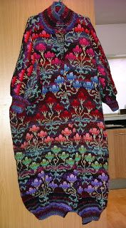 I began the coat (nicknamed my 'Technicolour Dream Coat' - but more formally it's a Kaffe Fassett Chinese Rose Coat)the year I moved to Lon...