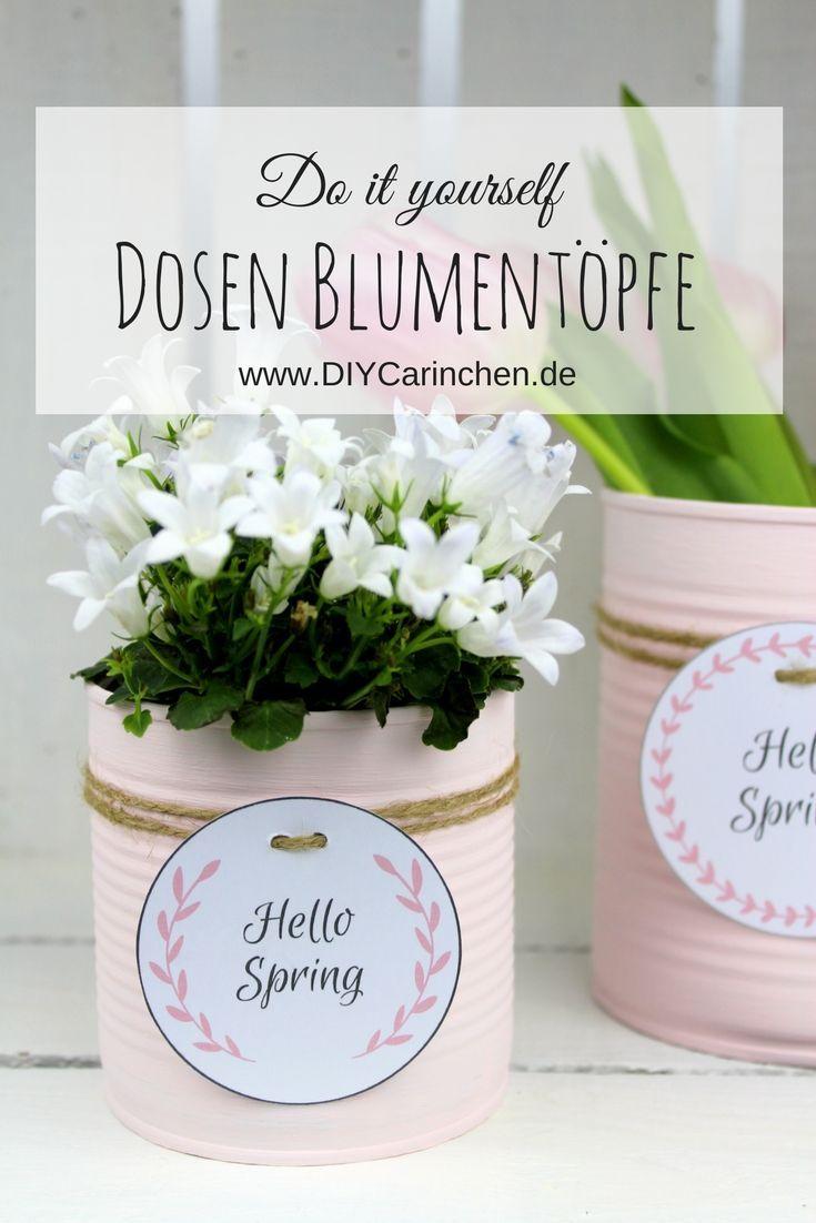 DIY Recycling Crafting Idea: Bloempot uit een blikken doos in zacht roze + …  – DIY Upcycling