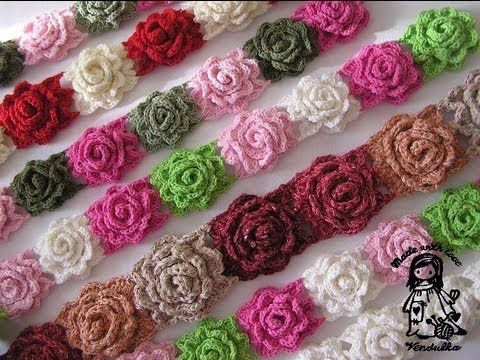 Rosas enrolladas 3D tejidas a crochet / English subtitles: 3D crochet rolled roses - YouTube