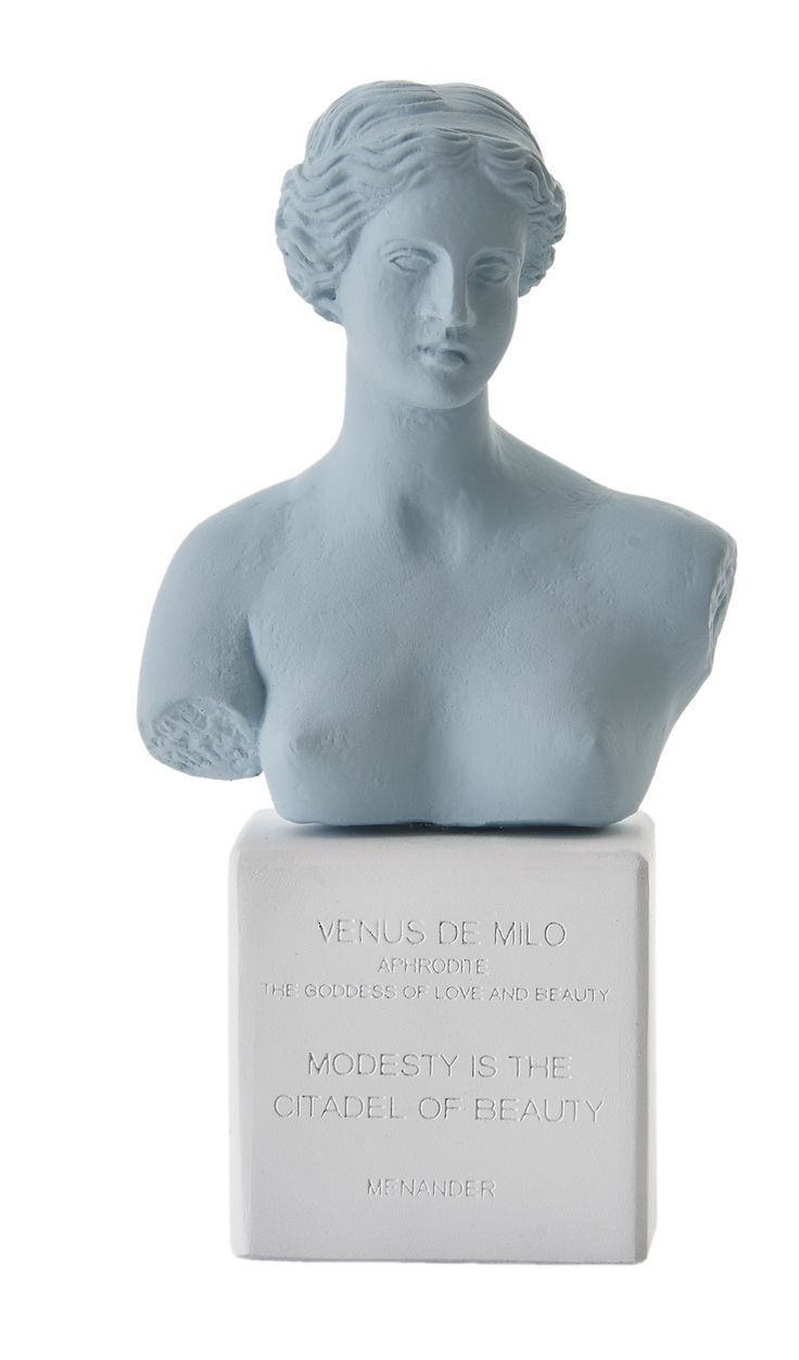 Venus Bust. Statue. Material 100% Ceramine. Color: Vintage Blue.