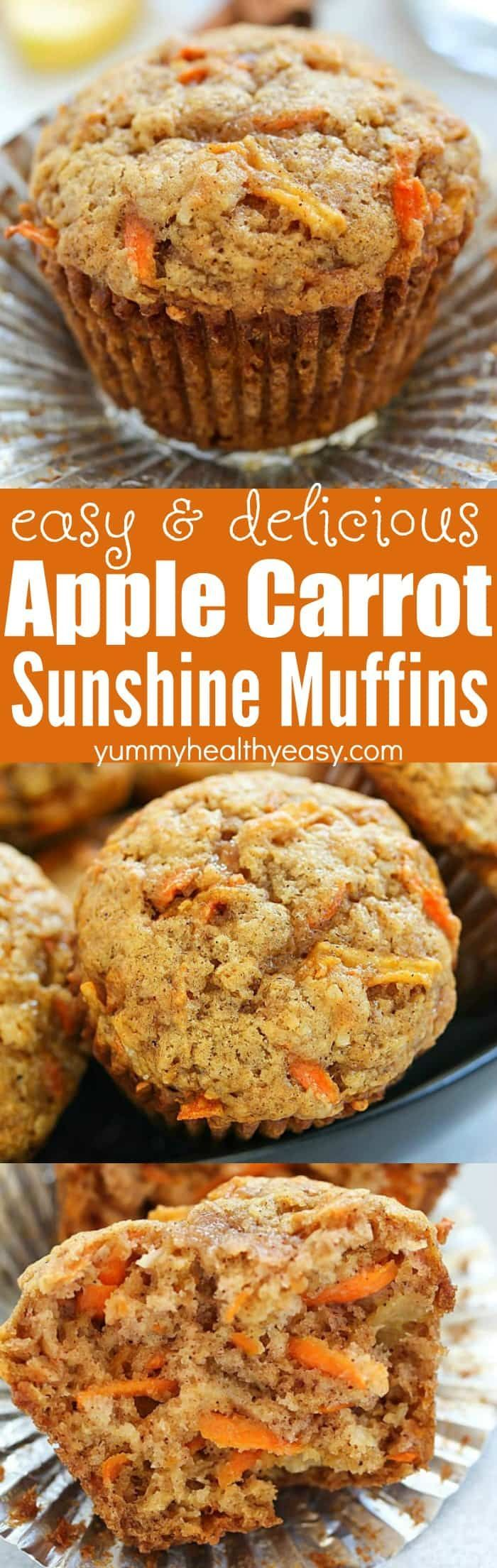 These Apple Carrot Muffins (also known as Sunshine Muffins) are full of carrots, apples, coconut, cinnamon & nutmeg. Your house will smell amazing after baking a batch of them! They're easy to make and are so fluffy and delicious, they'll quickly become a family favorite!