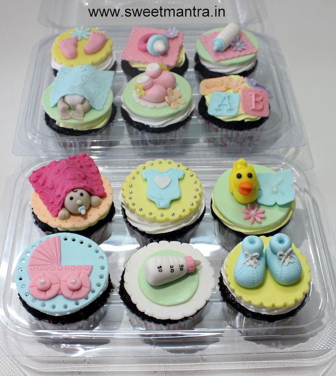 Baby Shower theme customized designer fondant cupcakes at Pune