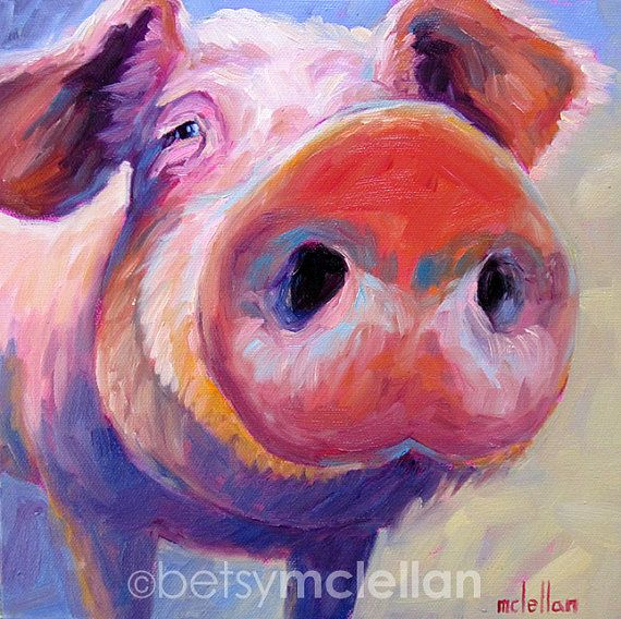 Pig Original Painting by betsymclellanstudio on Etsy