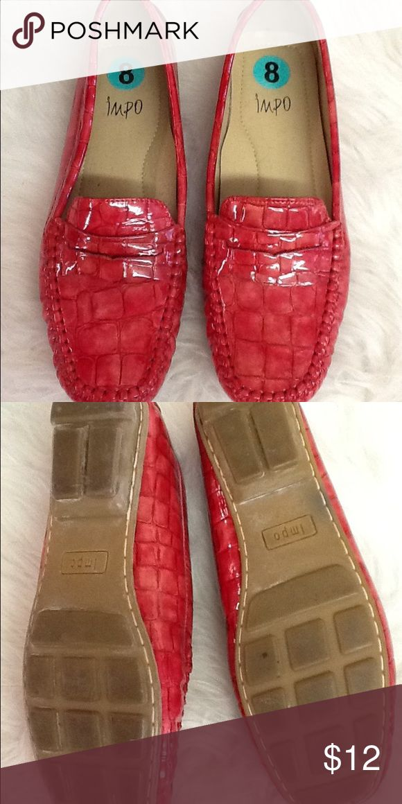 Red Loafers Cute and shiny red loafers. Excellent condition with very little wear. impo Shoes Flats & Loafers