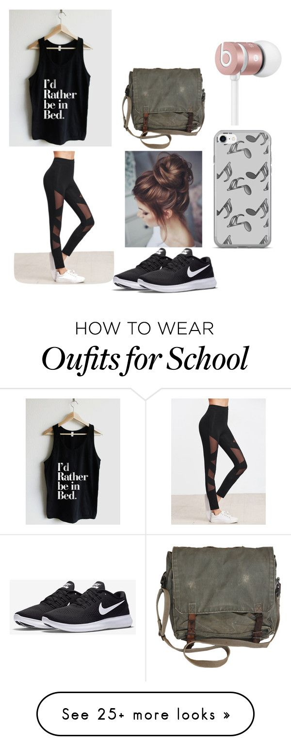 """Lazy school day"" by mgarrison41 on Polyvore featuring NIKE, Music Notes and Beats by Dr. Dre"