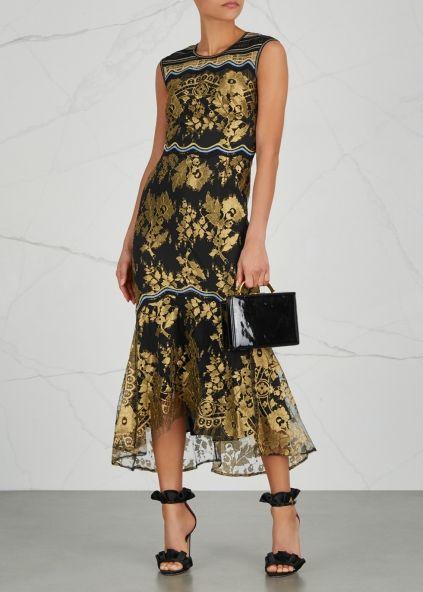 Peter Pilotto Black and gold lace dress - Harvey Nichols