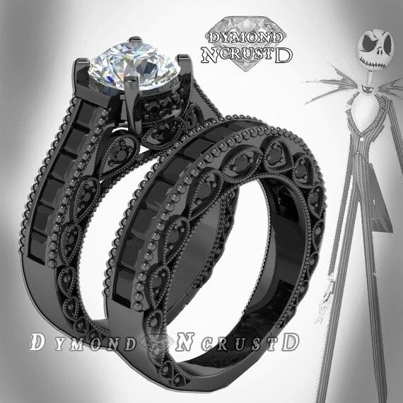nightmare before christmas wedding ring set 899 etsycom - Goth Wedding Rings