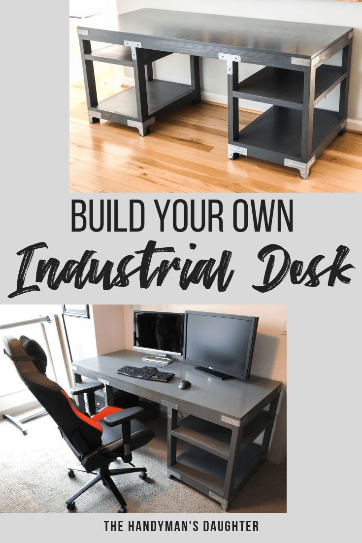 DIY Woodworking Ideas Get the free woodworking plans to make this amazing industrial desk! All you nee...