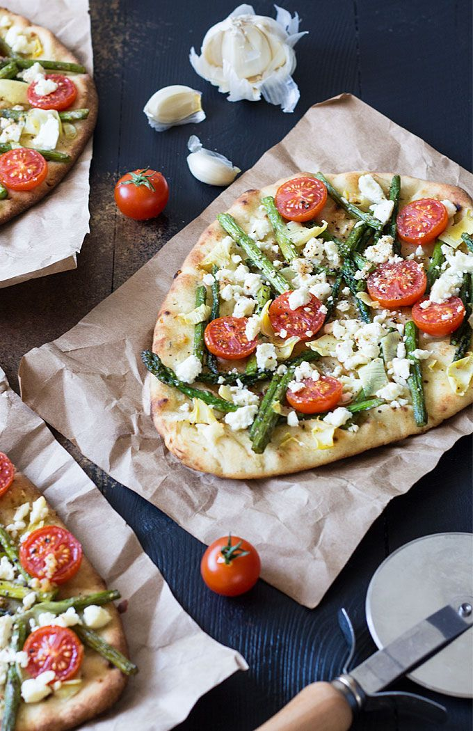 Spring Harvest Pizza - An EASY flatbread pizza with asparagus, artichokes, tomatoes and feta | theblondcook.com