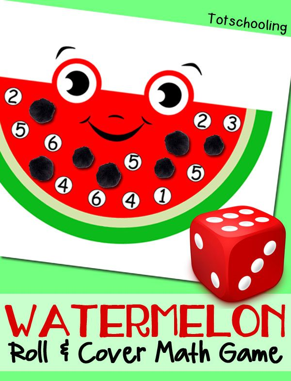 FREE printable Watermelon math game for kids to practice numbers and counting. Perfect summer learning activity or book activity to go along with The Watermelon Seed.