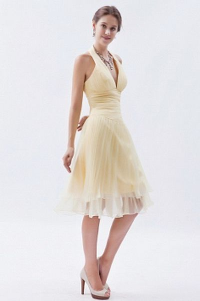 Classic V-Neck A-Line Cocktail Gowns wr0881 - http://www.weddingrobe.co.uk/classic-v-neck-a-line-cocktail-gowns-wr0881.html - NECKLINE: V-Neck. FABRIC: Organza. SLEEVE: Sleeveless. COLOR: Yellow. SILHOUETTE: A-Line. - 138.59