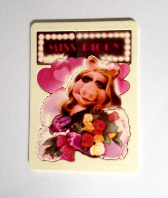 Vintage Miss Piggy Muppets Puzzle Wood Plastic Frame 80s 1981 Fisher Price #FisherPrice