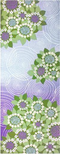 Japanese washcloth, Tenugui 手ぬぐい 紫陽花 hydrangeas