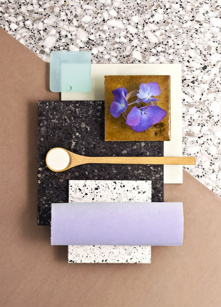 Weekly material mood 〰 Purple Summer & Sile Stone #satinglas #pastelblue #purple #silver #black #stone #acrylic #glaze #ceramic #velvet #kvadrattextiles #terrazzo #flower #nature #hortensia #colour #design #material #mood #moodboard #studiodavidthulstrup