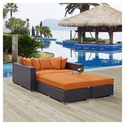 Convene 4pc Outdoor Patio Daybed - Espresso/Orange - Modway