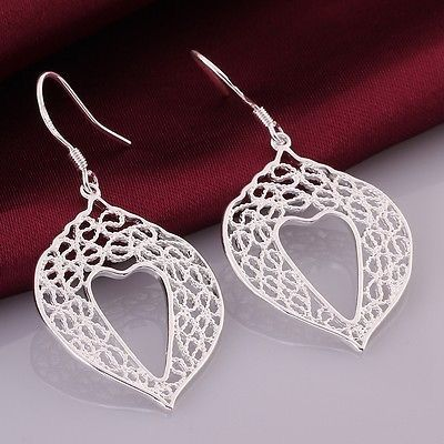 Sterling Silver Plated Lace Heart Earrings $8.00.