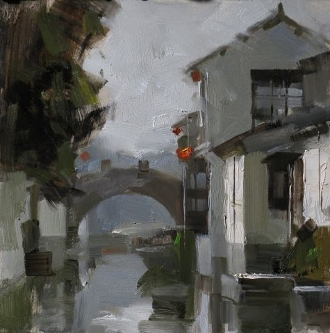 Zhouzhuang Impression, painting by artist Qiang Huang
