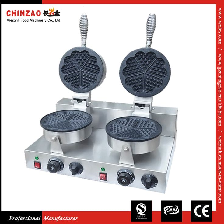 Commercial Portable Twin Head Electric Heart Industrial Waffle Maker