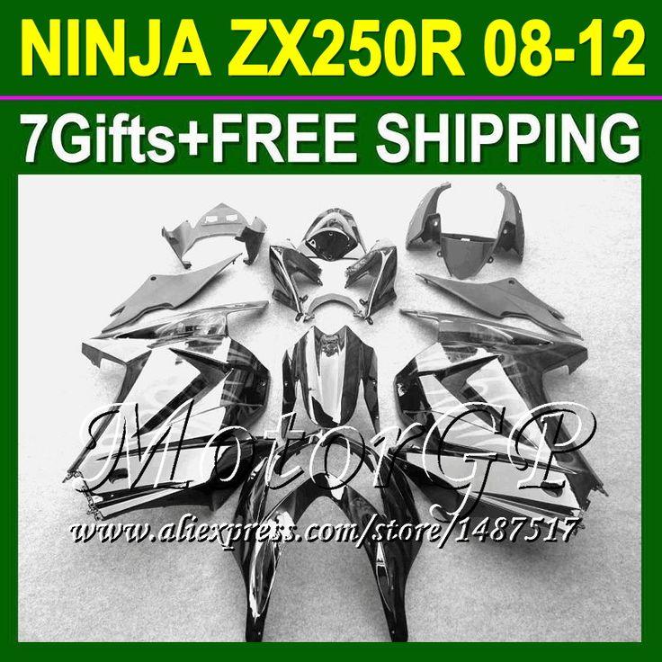 Купить товар7 подарки + для Kawasaki ниндзя 250r ZX250R ZX 250 16 # 132 белый пламя ZX250 2008 2009 2010 08 09 10 11 12 черный зализа в категории Щитки и художественная формовкана AliExpress.
