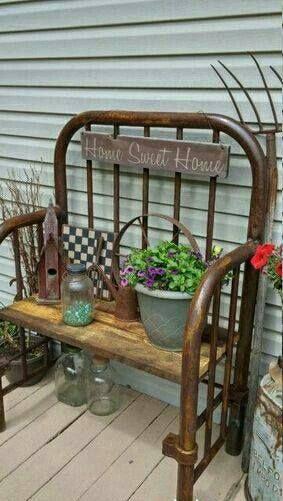 Iron Bed Frame Bench Or Plant Holder Metal Shed Remodel