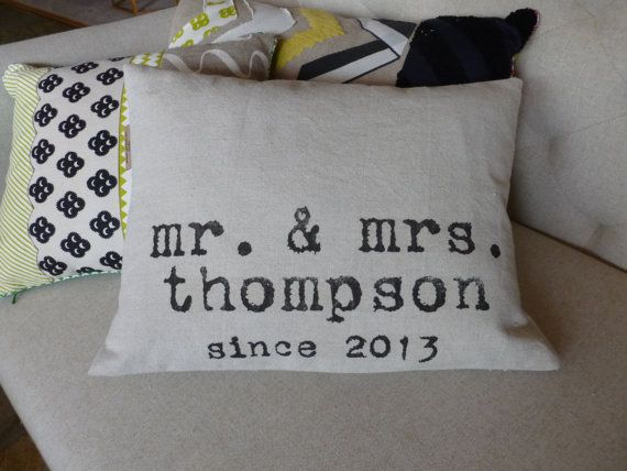 Mr and Mrs Throw Pillow Personalized Wedding Gift by shannspishak, $44.00