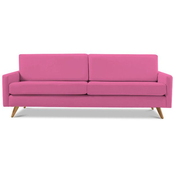 Mid Century Leather Sofa (432120 RSD) ❤ liked on Polyvore featuring home, furniture, sofas, home decor, sofa, pink, mid-century sofa, mid century leather couch, mid century modern couch and mid century couch