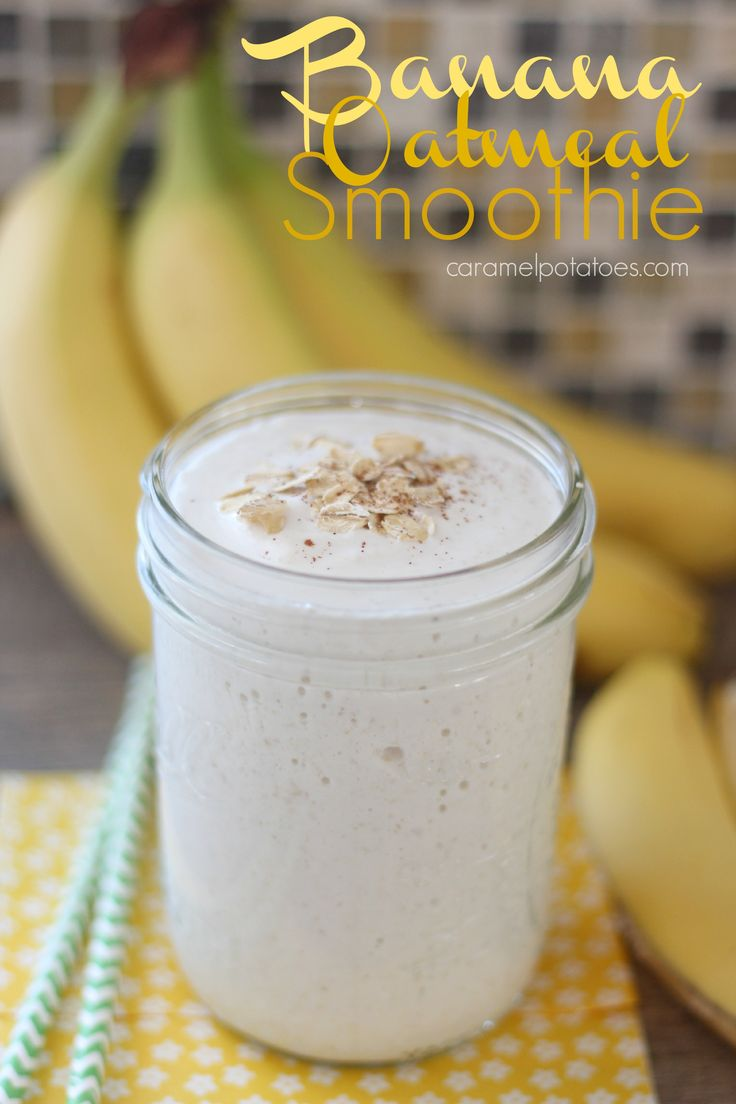 Banana Oatmeal Smoothie - quick, healthy, and delicious!  Just made this with some added some peanut butter! SO good!