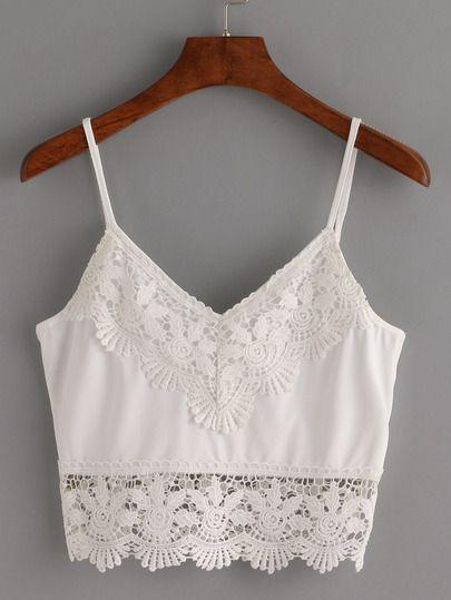 Top ribete de crochet crop tirante fino -blanco