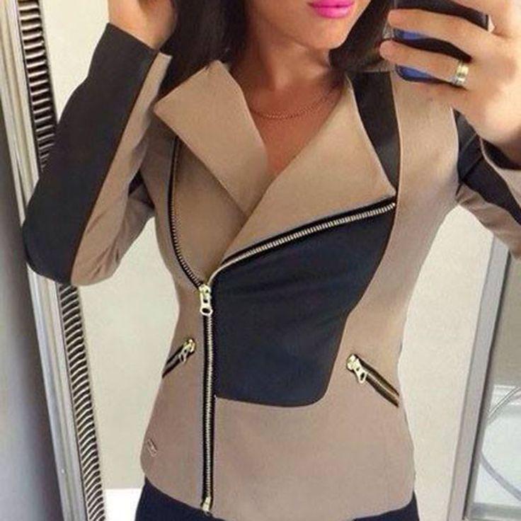 women jacket 2015 casual style short jacket turn-down collar long sleeve patchwork knitting plus size jacket false pockets