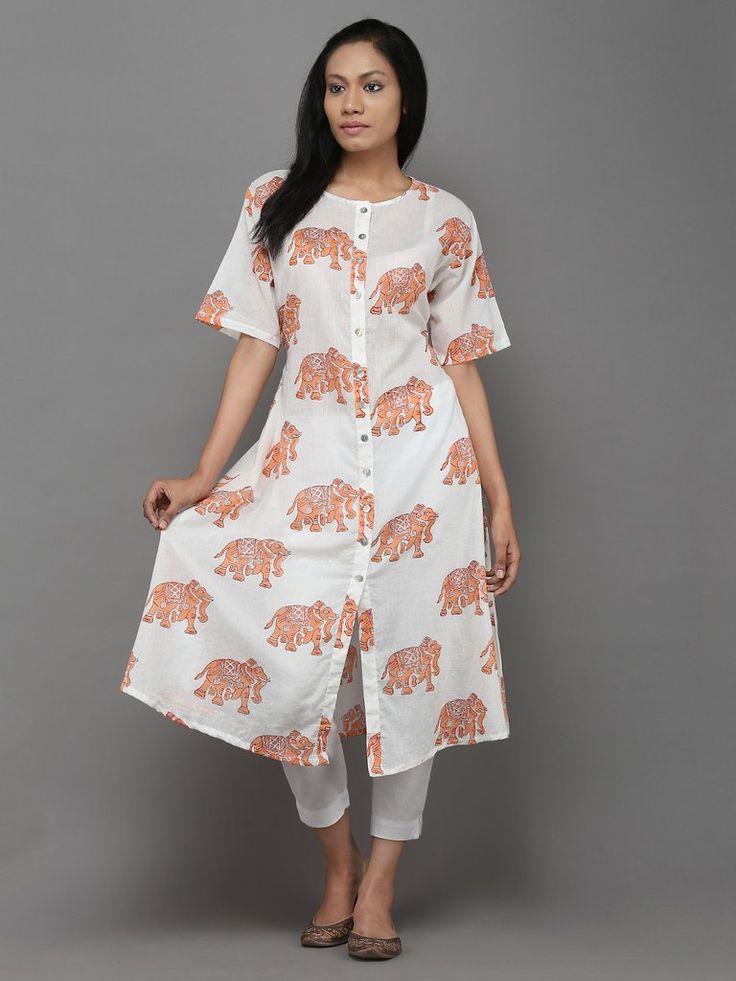 Orange Elephant Block Printed Cotton Cape