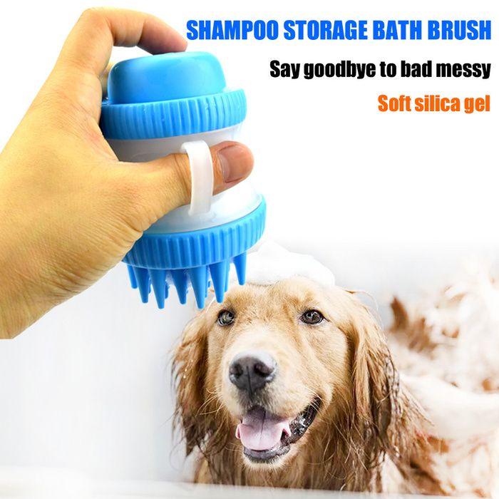 Shampoo Press Bath Brush Clean Massage Comb Silica Gel Pet Products Bath Cat And Dog Foam Brush Bath Brushes Dog Grooming Supplies Dog Grooming