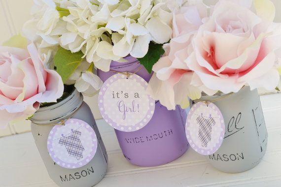 Lavender baby shower centerpiece