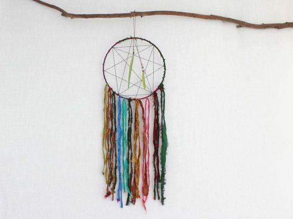 BOHO DREAM CATCHER . sari silk . indian ringneck by bohemianbabes