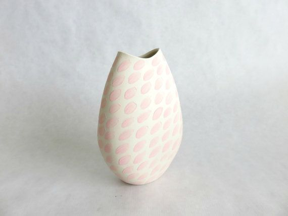 Ceramic white flower vase with flower petals Tall by Lilyceramic