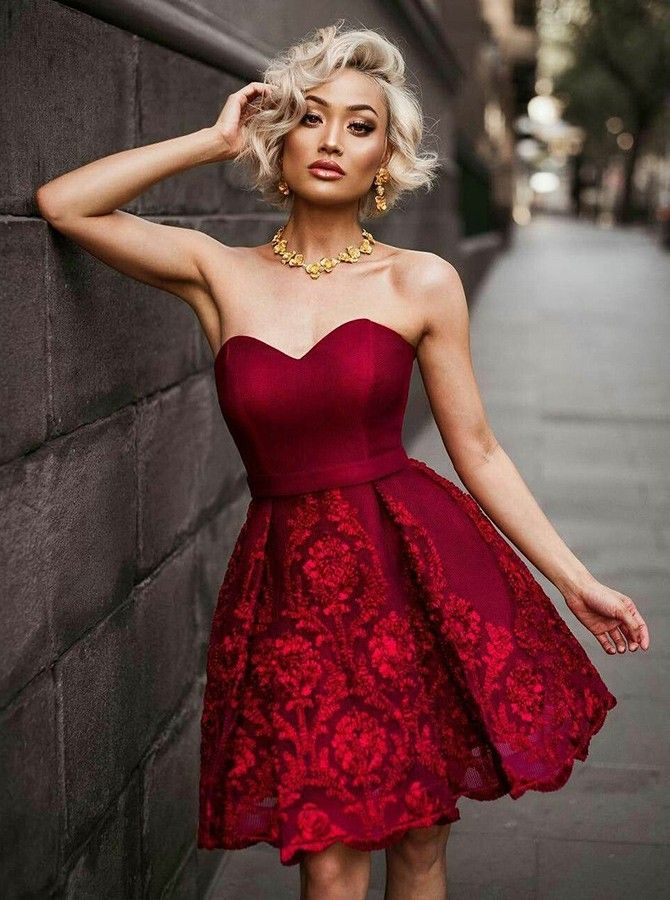 cf30a86c069 A-Lin Sweetheart Short Burgundy Satin Appliques Homecoming Prom Dress   minidresses  homecomingdress