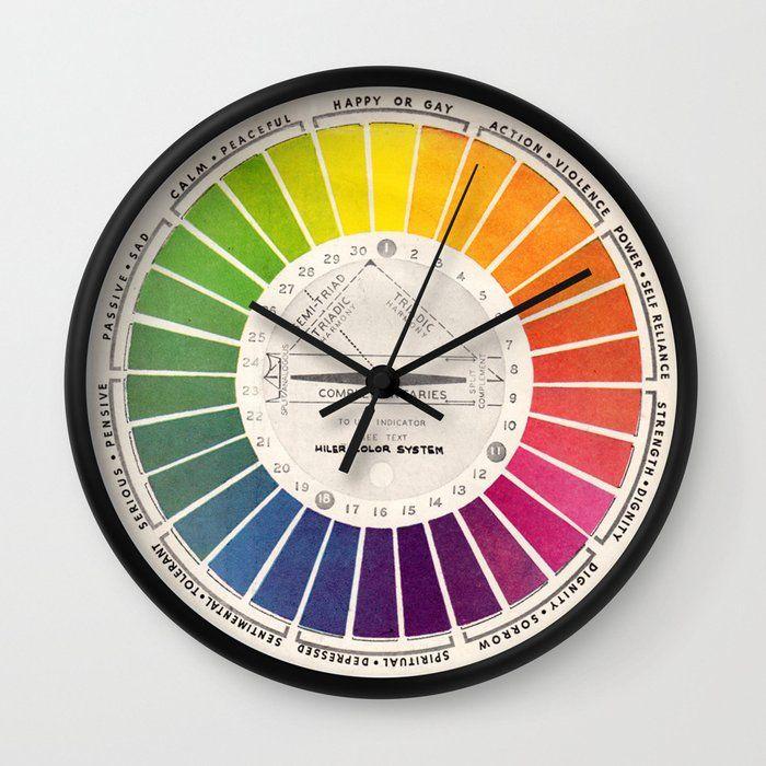 Vintage Color Wheel Art Teaching Tool Rainbow Mood Chart Wall Clock By Kristiefish Society6 Color Wheel Art Color Wheel Vintage Colors