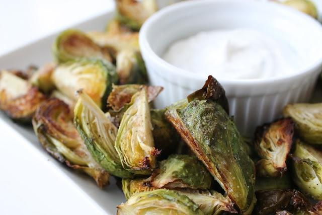 crispy brussel sprouts with greek ranch yogurt