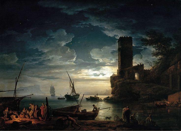 """""""Mediterranean Night"""" (1752) - Nuit- Scène côte méditerranéenne avec les pêcheurs et les bateaux by Claude Joseph Vernet - Wikipedia"""