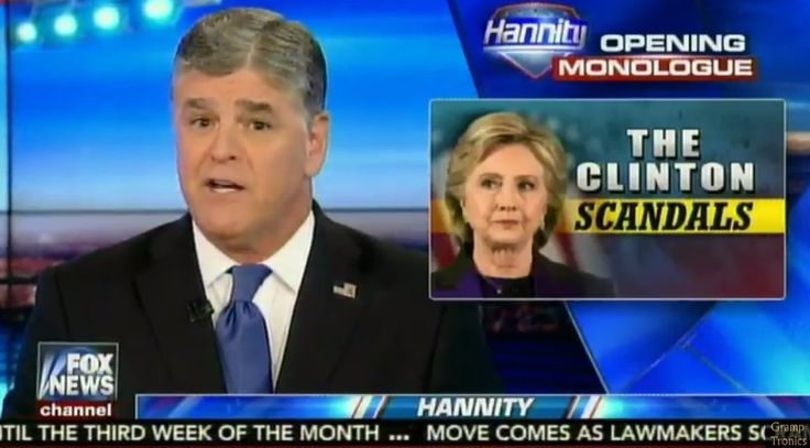 """""""Sean Hannity coming to you live from Earth-2, where President Clinton is facing scandal after scandal"""""""