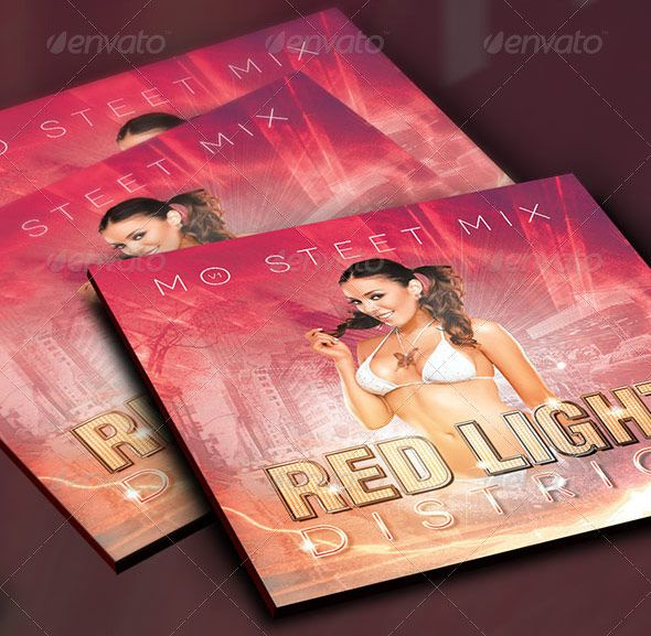 Red Light District CD Artwork Template is customized for any music compilation or mixtape for recording artists or poets that needs a modern urban look.