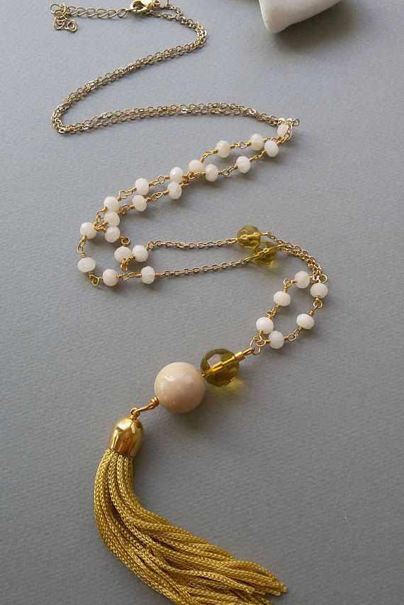 Gold Plated Necklace with Cream Faceted Nephrite and Yellow