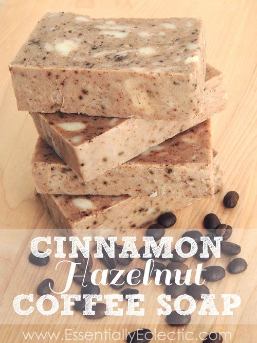 Rustic Cinnamon Hazelnut Coffee Soap | www.EssentiallyEclectic.com | This rustic cinnamon hazelnut coffee soap is made with rebatch soap base, milk, cinnamon and coffee grounds and is the perfect handmade gift!