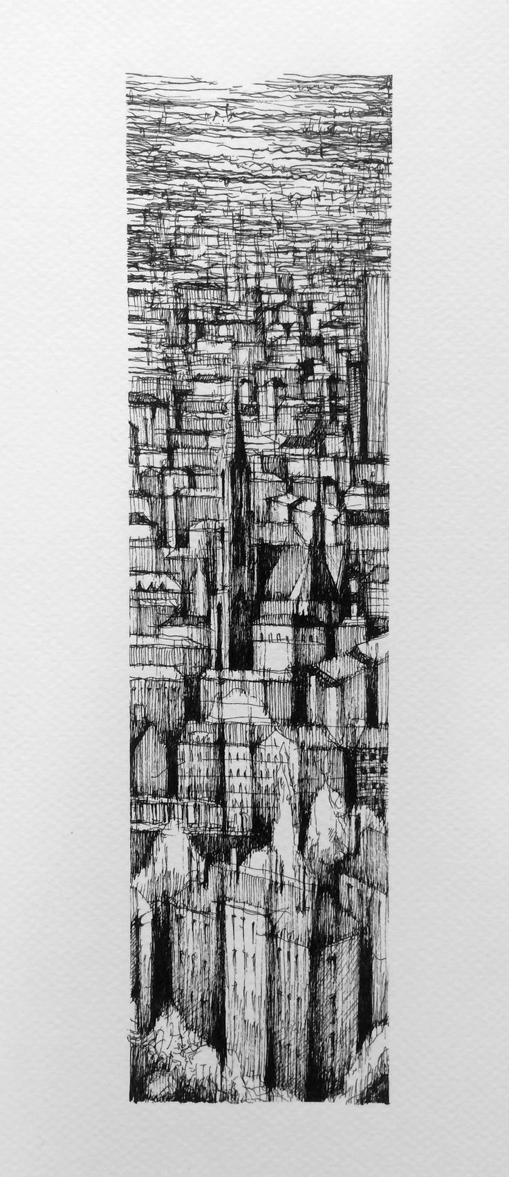 VIENNA VERTICAL III Drawing on paper, 20cmx40cm, ink  © Pavel Filgas 2016