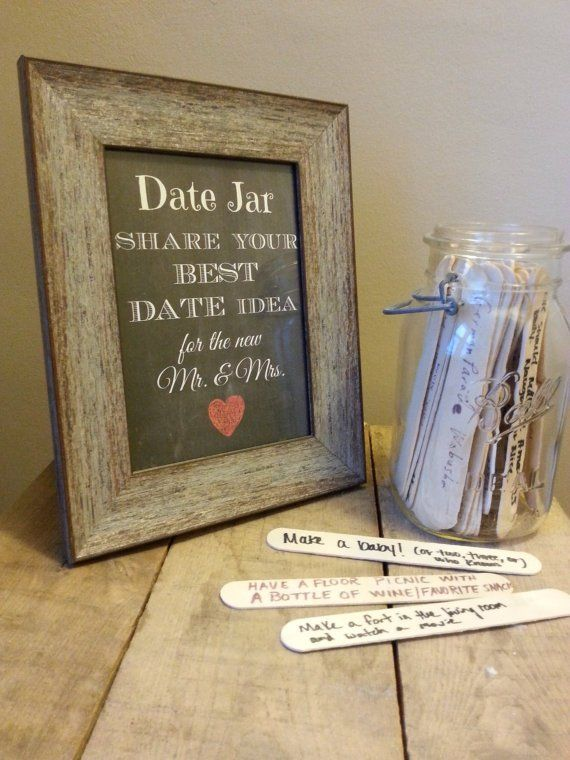 Get your wedding guests to suggest date ideas as a fun activity at your wedding reception. Mix up your dinner and a movie routine with some different date ideas. Here's a big list of what to do on a date plus instructions on how to put together a cute date jar.