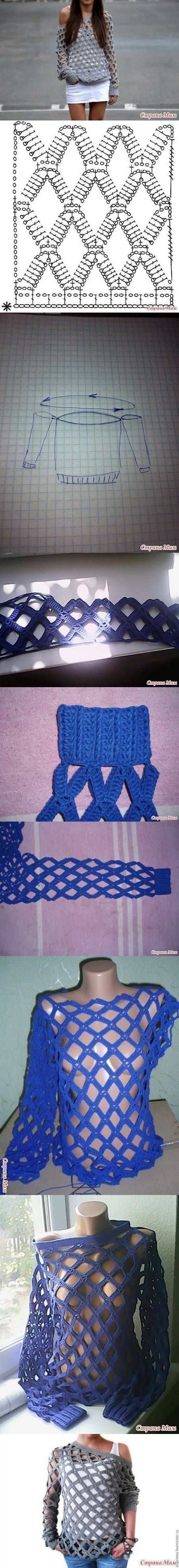 DIY Crochet Blouse  ♪ ♪ ... #inspiration #crochet  #knit #diy GB  http://www.pinterest.com/gigibrazil/boards/