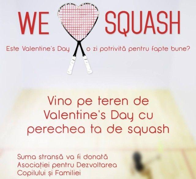 Squash, Valentine's Day si Dragoste de Oameni. De Valentine's Day, parintiinformati.ro invita cuplurile sa joace squash sprijinind astfel Asociatia pentru Dezvoltarea Copilului si a Familiei... http://www.squashmania.ro/squash-valentine-s-day-si-dragoste-de-oameni/