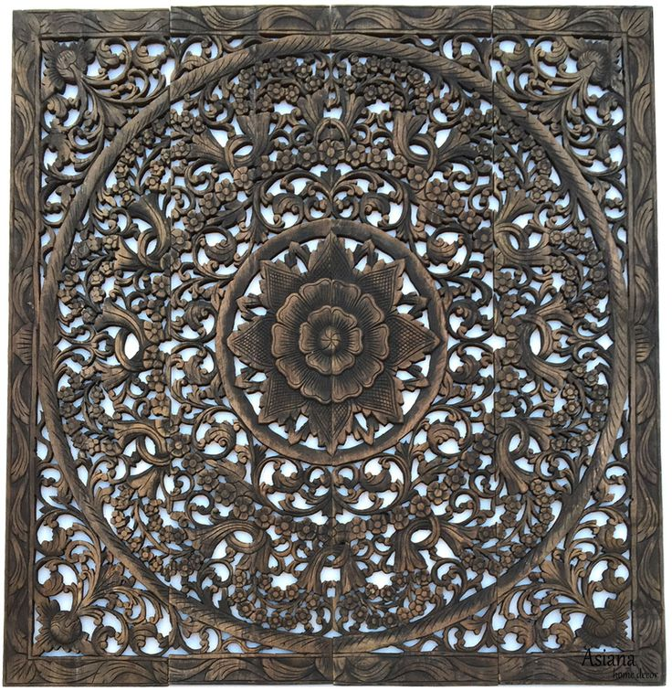 """Elegant Wood Carved Wall Plaque. Wood Carved Floral Wall Art. Asian Home Decor Wall Art Panels. Bali Home Decor. 48""""x48""""x0.5"""" Available in Black Wash, Dark Brown, and Rice Espresso"""
