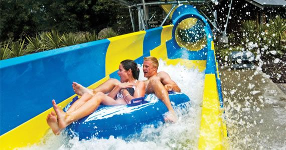 Superbowl Inflatable Water Slide & Other Water Flumes   Hanmer Springs Thermal Pools and Spa