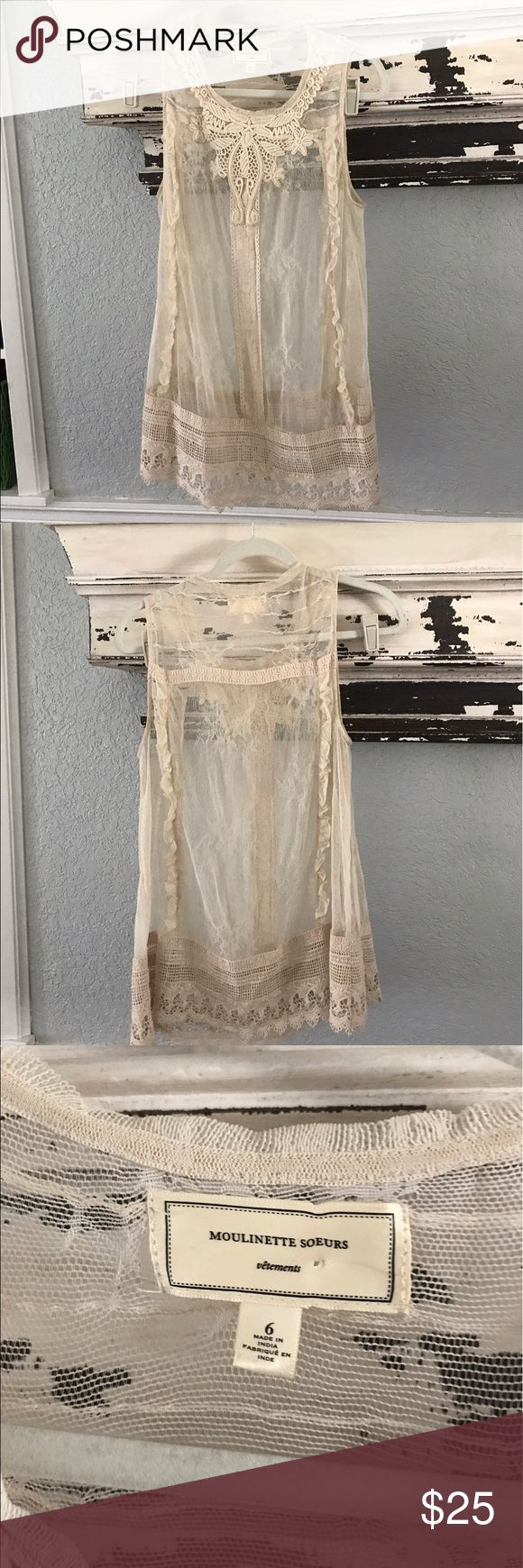 Anthropologie Moulinette Soeurs Beautiful Victorian ivory detailed top. Good preowned condition. Obviously it's sheer needs a Cami underneath. Anthropologie Tops