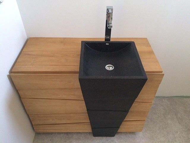 Meuble Teck Sdb Komodo Vasque En Terrazo Noire Cocktail Scandinave